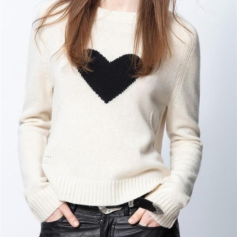 Женщина кашемировый свитер круглые шеи фронт черное сердце JAC с длинными рукавами мода джемпер вязаный 201222