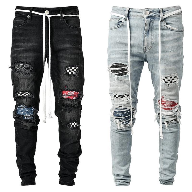 خليط هول سليم جينز رجالي الصلبة اللون شارع العليا سروال رصاص لوح التزلج عارضة الساخن بيع الرجال الملابس الداخلية للرجال