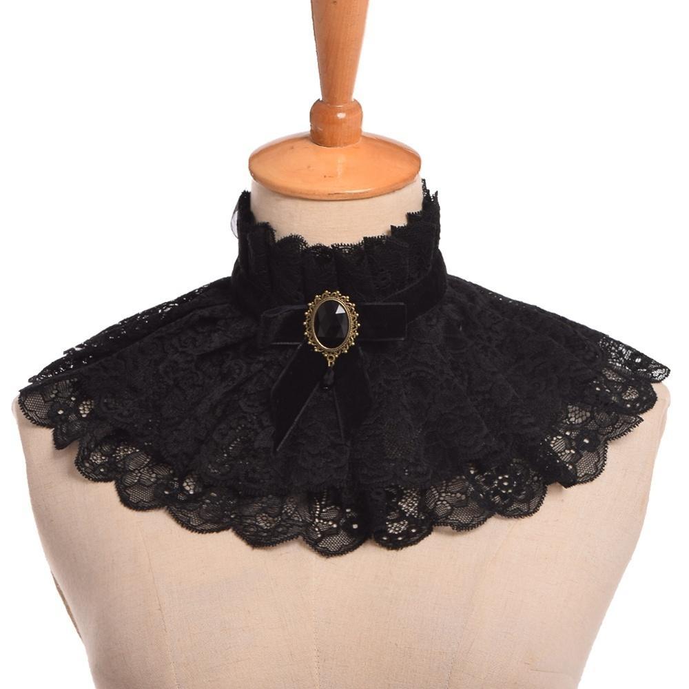Lolita colletto in pizzo nero dell'annata gotico vittoriano punk Gorgiera Ribbon Charm Cosplay 201018