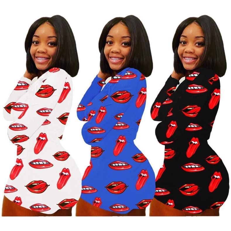 Женщины комбинезон мода губы печати с длинным рукавом Rompers шорты валентинок день одни oneies сексуальный глубокий v-образным вырезом тощий один кусок боди h12106