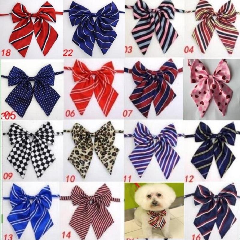100pc / lot nouveau coloré à la main réglable grande cravates de chien de gros nœuds d'archet d'arc d'arc d'arc de compagnie cachets de chat de chat grooming fournitures L8 lj200923