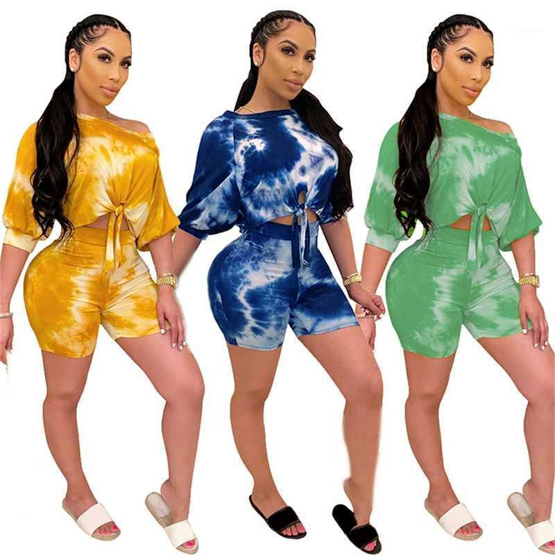 Plus Size S-2XL Donne Set Donne TrackSuits Manica corta Pantaloni Top Vestito Due pezzi Set Stampa Casual Fitness Outfits1