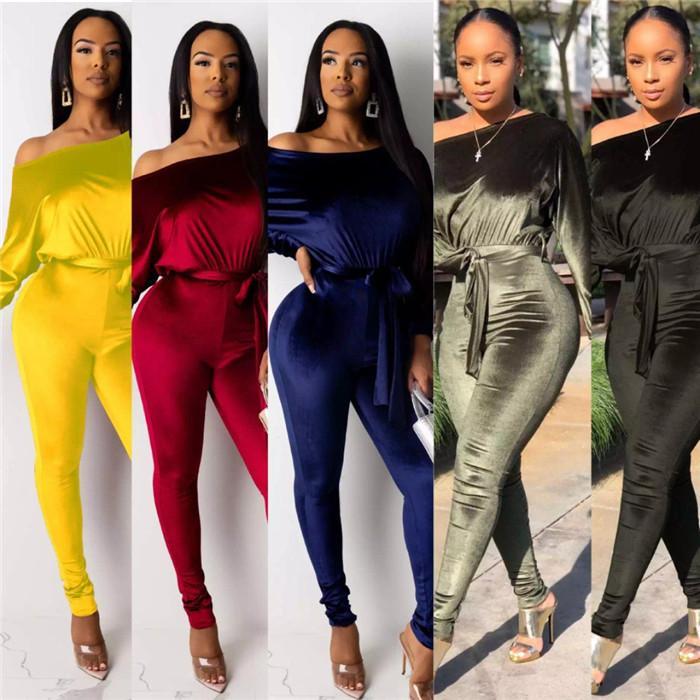 One-Shoulder-Strampler Frauen Designer Velvet Bat Sleeve Jumpsuits Solid Color Lässige Herbst-Frauen-Kleidung mit Schärpe