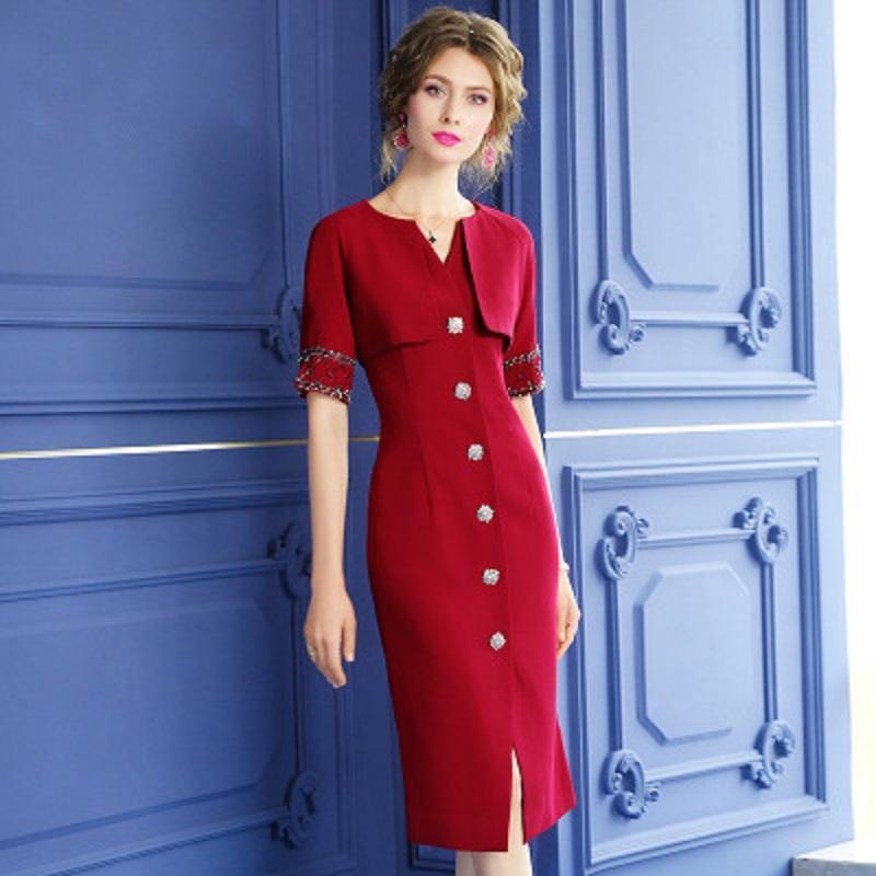 2020 nouveau corps mince maturité de son style robe d'été des femmes robe perler solide mode lumière col V couvrant jupe droite patchwork