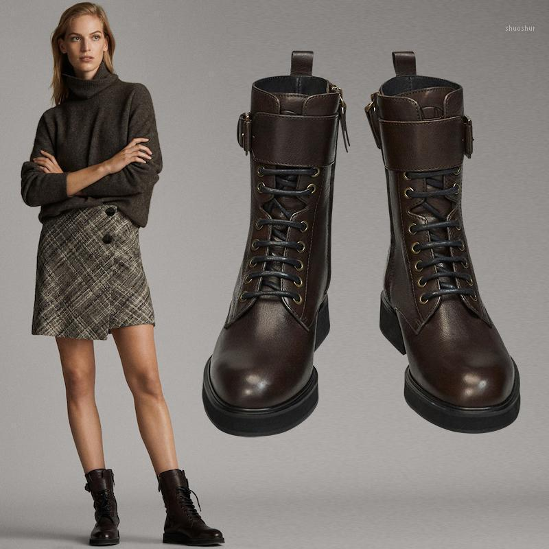 Botas 2021 Inglaterra Retro High Street Fashion Cowhide Soft Zippers Top Mulheres Sapatos Mulher Botas Mujer Mulher1