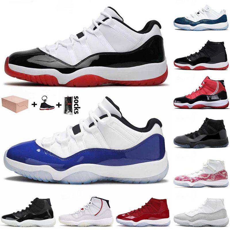 nike air jordan retro 11 11s bred concord 25th anniversary Zapatos de baloncesto superior de la manera Bred Concord Azul 2021 JUMPMAN 11 11s de alta de serpiente Hombres de aire