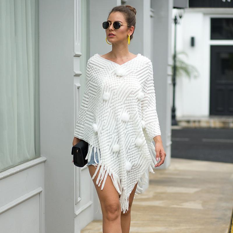 nouveau manteau pompon mode de vêtements pour les femmes automne hiver femme avec boule de poils épaule chandails couleur unie 201016
