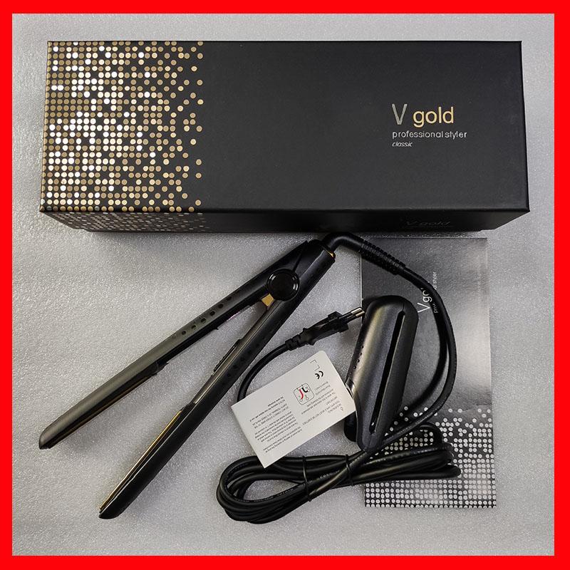 الخامس الذهب ماكس مستقيم الشعر الكلاسيكية المهنية تصميم سريع استقامة الحديد تصفيف أداة مع صندوق البيع بالتجزئة