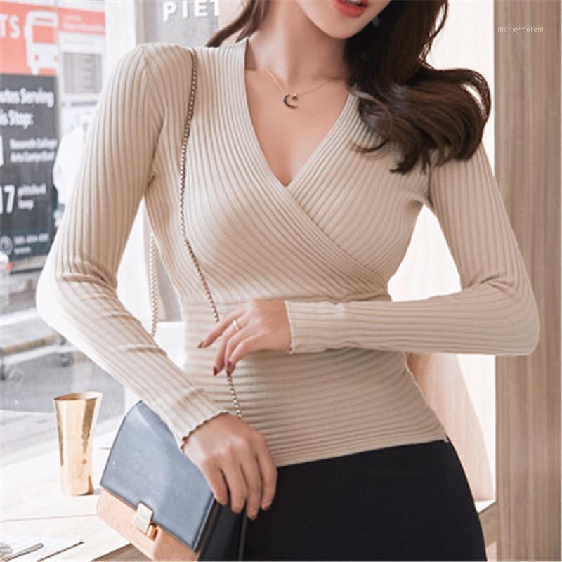 Frauen Pullover Sexy Tiefe V-Ausschnitt Pullover Strick Frauen Pullover Slim Botting Pullover Elastische Baumwolle Langarm Tops 351