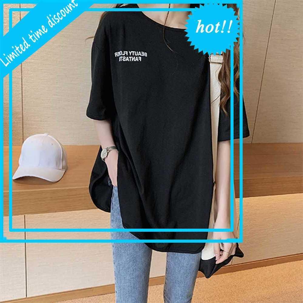 Письмо Печать Летнее 2020 Короткие Mouw o Nek Режим Свободная футболка Tops Tops Harajuku Streetwear Женщины CamiSetas Muir