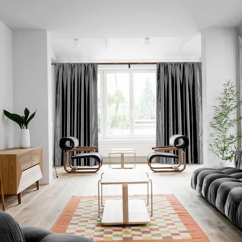 ChadMade Rod Карманный Шторы для спальни Твердые Полиэстер Хлопок Шелк плотными шторами для гостиной на заказ размере