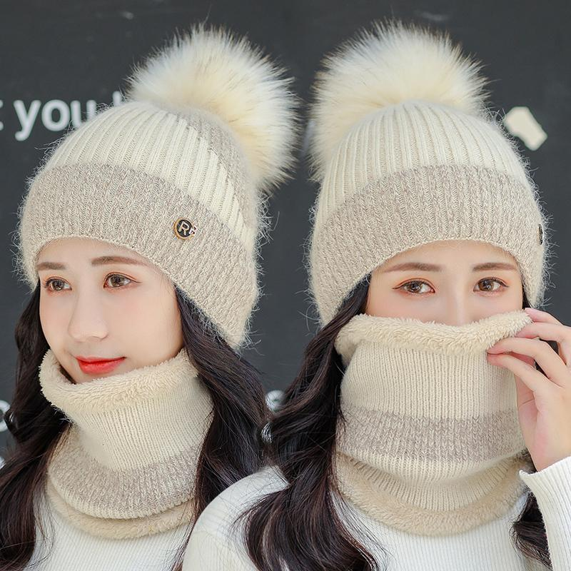 New woolen children's autumn winter warm rabbit hair fashion windproof and cold proof knitted Korean cycling hat