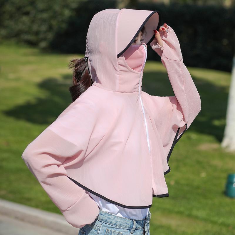 breve chiusura lampo delle nuove donne, crema solare leggero, con un cappuccio, un colore solido e veloce cappotto della pelle traspirante, resistente ai raggi UV di essiccazione