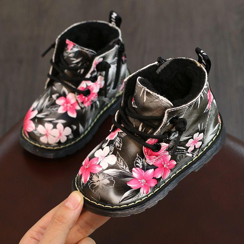 Floral impressão inverno botas sapatos de bebê meninas princesa botas de algodão sapatos w1217