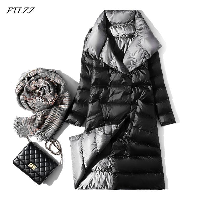 FTLZZ Ultra luz larga chaqueta de invierno de las mujeres de doble cara blanco delgado pato abajo cubren solo pecho cuello alto Calentar Parkas Y1109