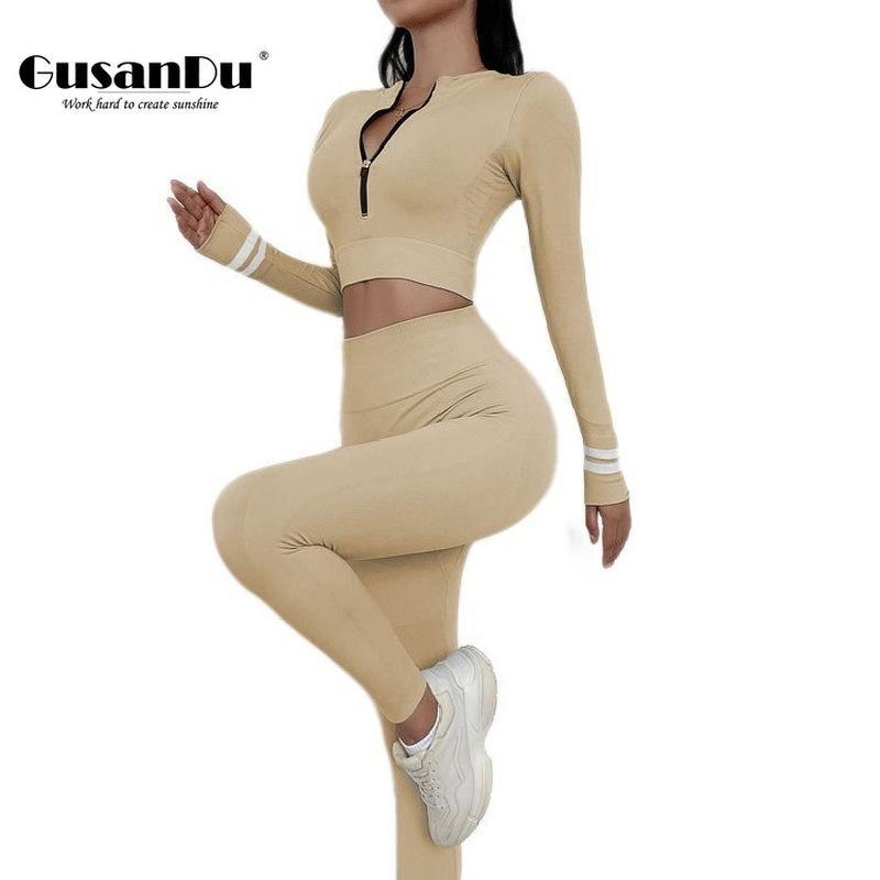 Nahtlose Yoga Set Langarm-Anzug Trainings-Kleidung für Frauen Sport Leggings Bras Pants Gym Bekleidung Fitness Gusnadu Cn (Ursprung)