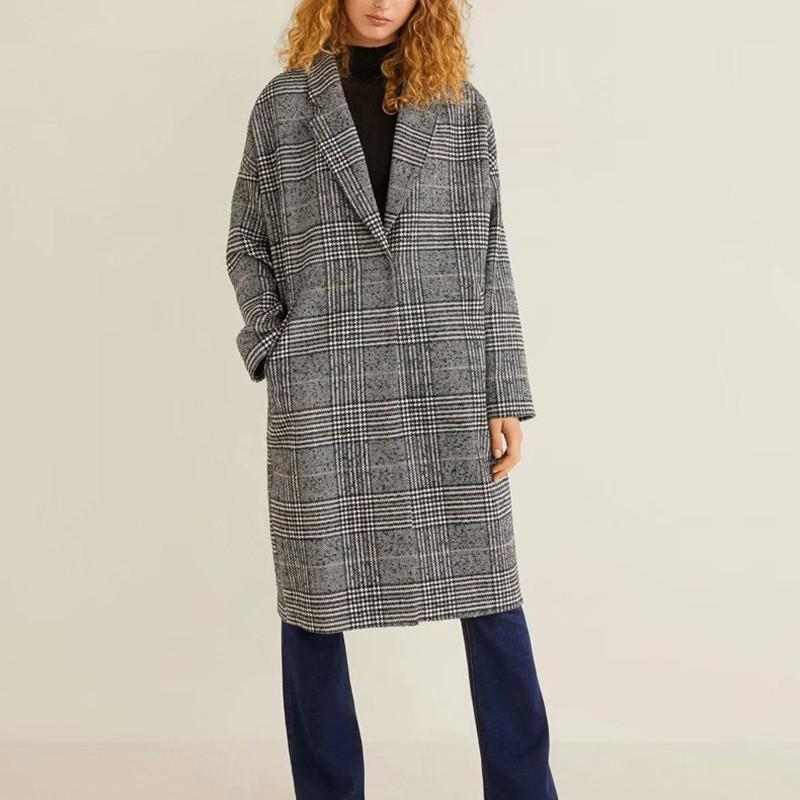 Женская шерстяная смесь философия осенью свободно винтажные плед женские длинные пальто куртки повседневная уличная одежда леди одна кнопка