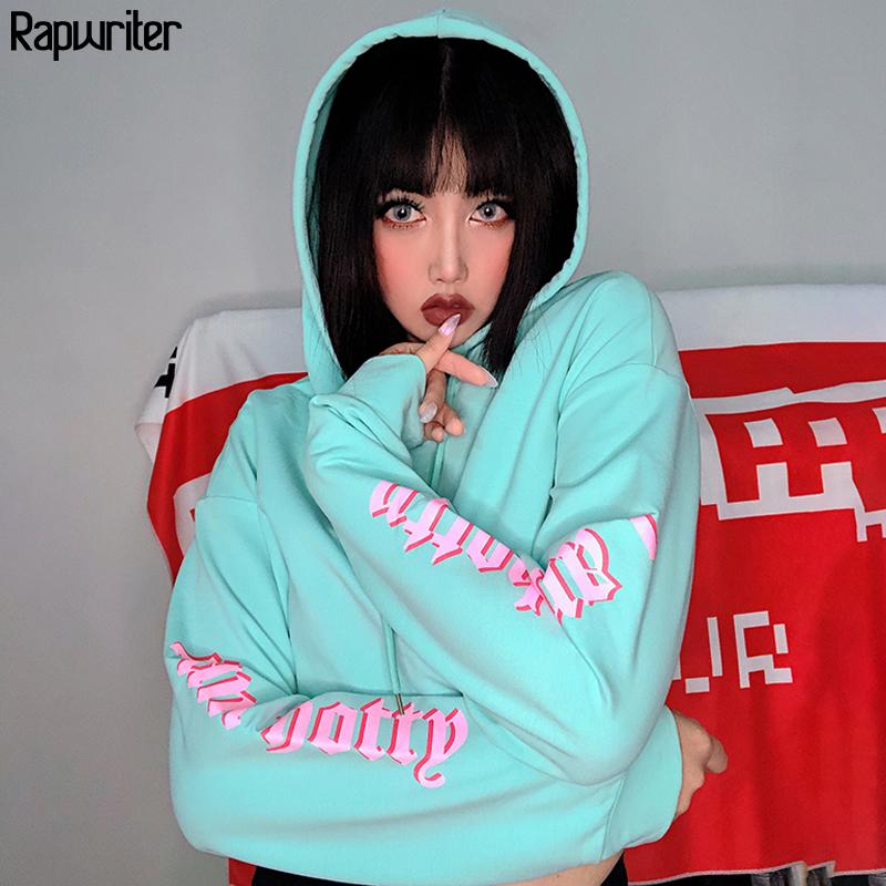 Rapwriter Streetwear Raglan Langarm Lose Täfeler Brief Hoodies Sweatshirt Frauen 2020 Fall Green Hip Hop Harajuku Crop Top Y200706
