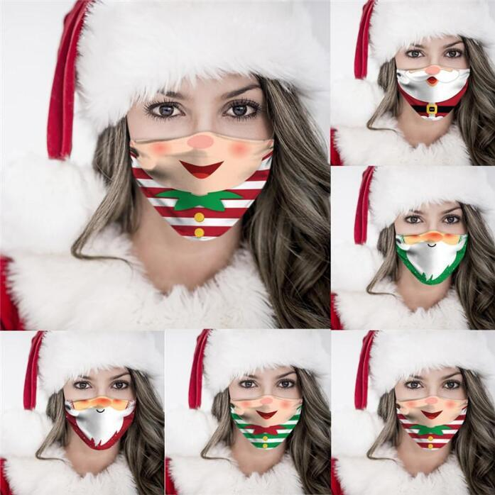 Mascarilla de la cara de Navidad Mascarillas de algodón de seda de hielo Protección solar de moda Mascarillas transpirables a prueba de polvo reutilizable Lavable al aire libre MaskDHC4805
