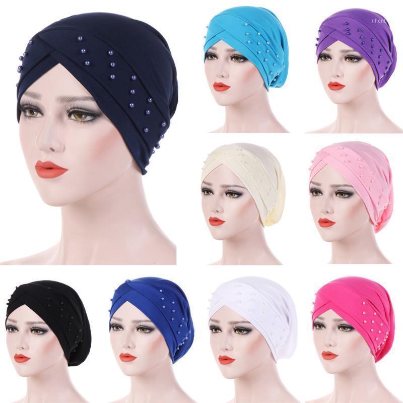 Женщины Мусульманские рюшанные Оголовочные Оголовочные Раску Рак Химировальные Волосы Бисероплетение Индия Шляпы Beanie Bandanas Головной Уголов Уголовки Cap1