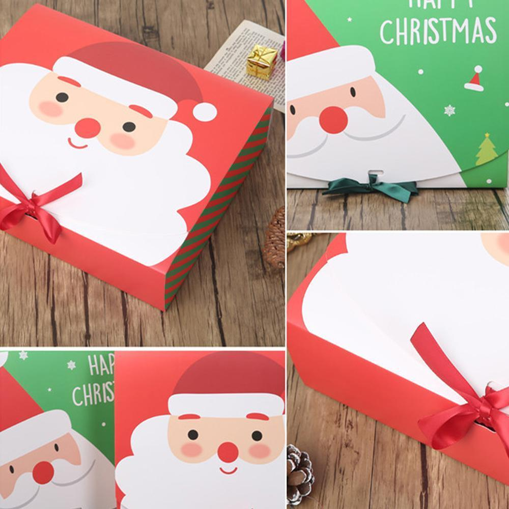 Navidad víspera grande caja de regalo Santa Claus Diseño de hadas Kraft PaperCard presente Favor de la fiesta Favor de la caja Red Green regalos cajas de paquete