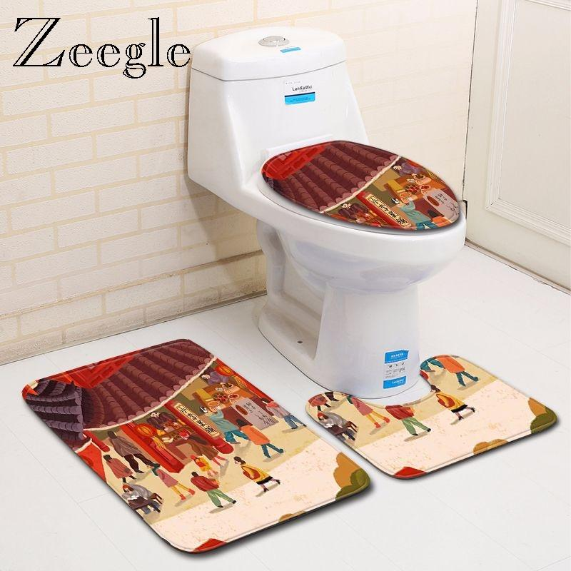 Banyo Paspaslar Zeegle Baskılı Banyo Mat Seti Anti Kayma Mutfak Tuvalet Zemin Yıkanabilir Kilim Aksesuarları