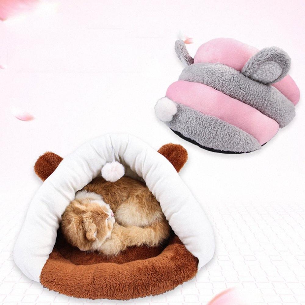 Pet camas gatinho gato dormir sacos com saco de sono bolas de jogo brinquedo de gato macio fleece Pet presente de aniversário fyUD #