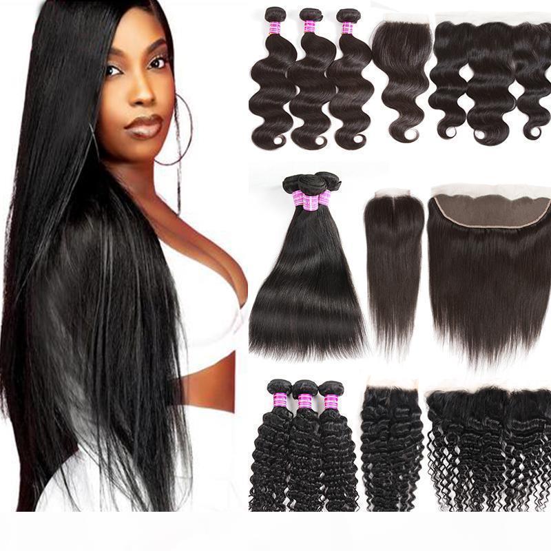 Unverarbeitete brasilianische Body Wave Jungfrau Menschliches Haar 3 Bündel mit frontalem Wasser Tiefe kinky lockige geradlinige Remy-Haar-Erweiterungen und -verschlüsse