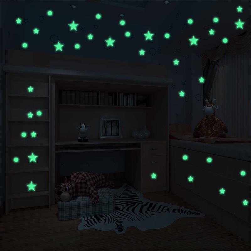 Sala de estar Decoración del hogar Vinyl resplandor para arriba Etiqueta de la pared Niños Niños Star Circle Dot Luminoso Kidsroom Papel Pegatinas Calcomanías 3 3PD L2
