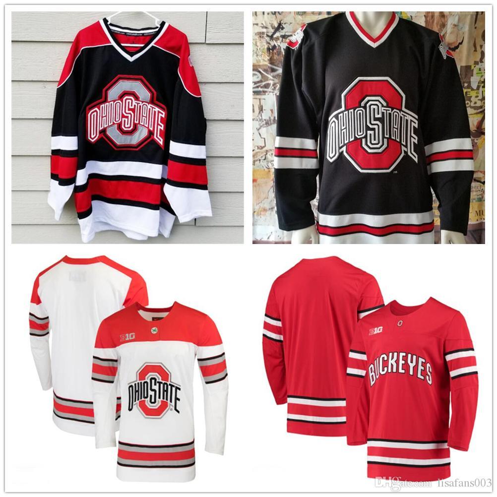 Пользовательские NCAA штата Огайо Buckeyes 3 Саша Larocque 26 Mason Джобст льда хоккейные майки Персонализированные вышивка Колледж Big Ten прошитой Трикотажные