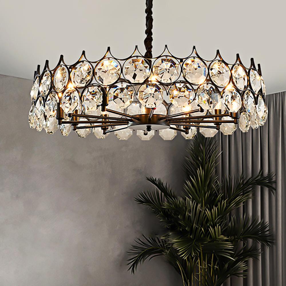 éclairage nordique lustre de luxe pour le salon cristal chaîne ronde lustre LED salle à manger chambre chambre lampes LED cristal