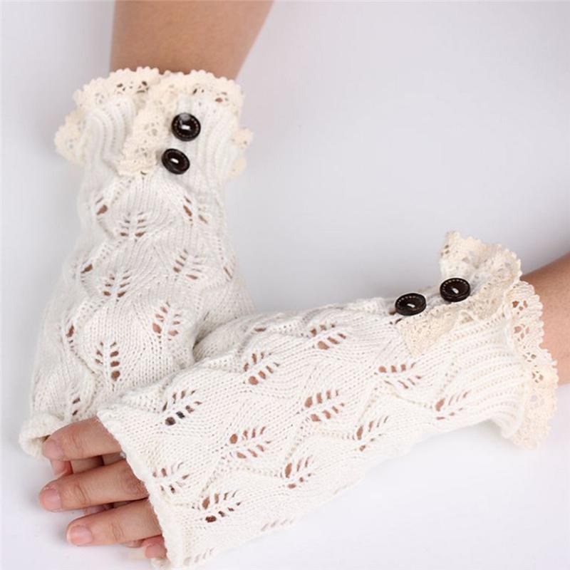 Women Wool Mitten Warm Fingerless Button Gloves Hand Warmer Winter Women Arm Crochet Knitting Faux Gloves Femme J6