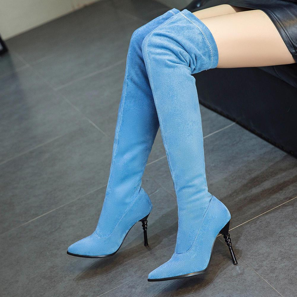 Brand New Chic Denim Women Schuhe Boots Plus Size 46 Thin High Heels Sexy Overknee-Stiefel Elastic