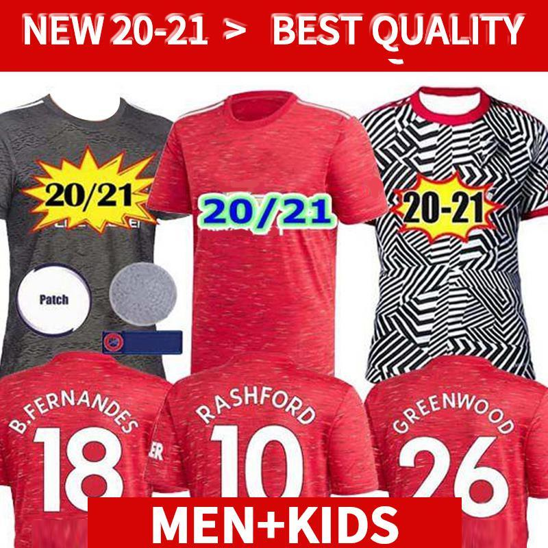 NCAA 20 21 FC Manchester Bruno Fernandes Pogba Soccer Jersey 2020 Lingard Rashford Camisetas Fútbol United Utd Uniforms Man Kit Kit Jerseys