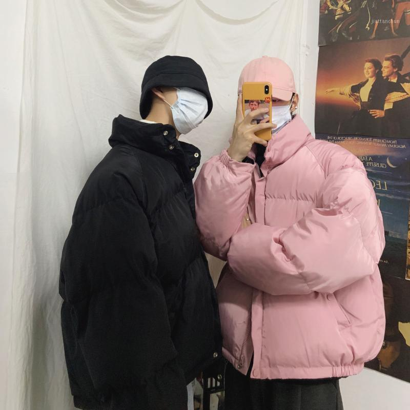 Hombres de invierno Streetwear Coreano Color Sólido Parka Mujer Corta Suelte Cotton Acolchado Moda Hombre Classic Coats 1