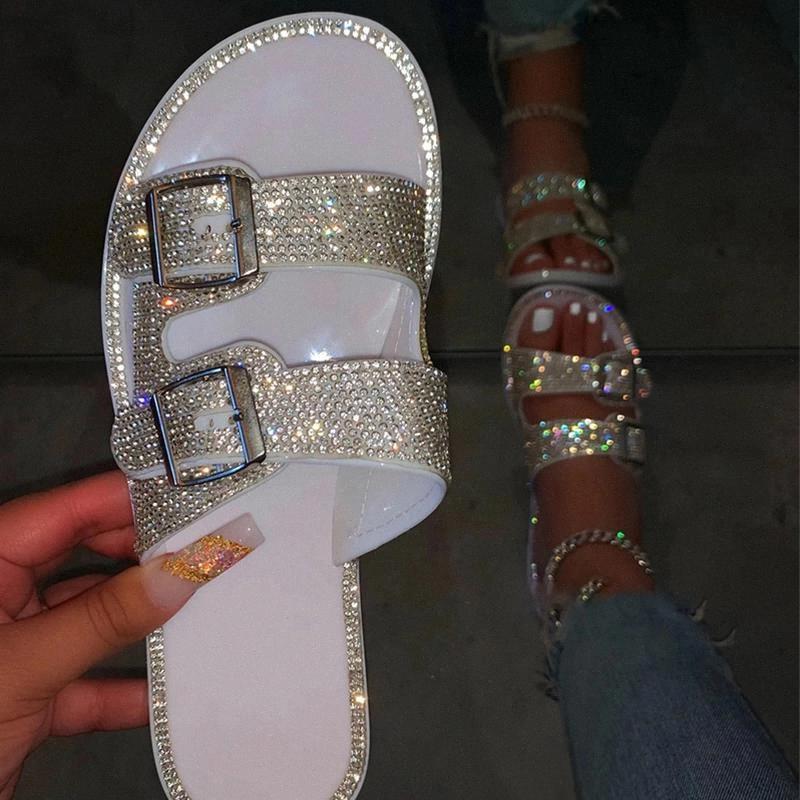 Mujer cristal zapatillas más tamaño 43 femenino moda hebilla pisos mujeres casual al aire libre diapositivas damas zapatos de playa calzado de mujeres # G677