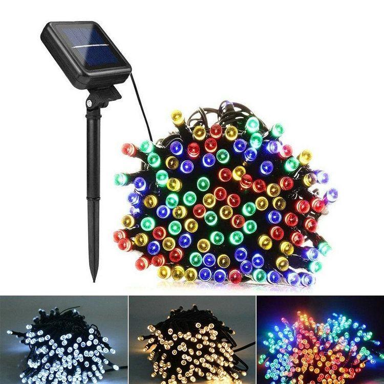 12M LED lâmpadas solares LED luzes de corda 100 LEDs Lâmpada ao ar livre festas de festa de Natal Garlands Luzes de jardim do gramado solar