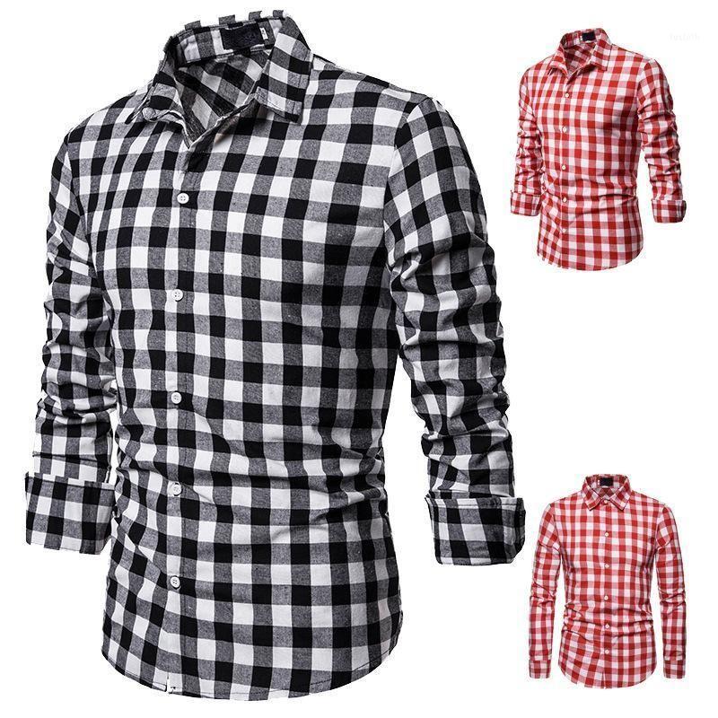 Мужские повседневные рубашки мужская рубашка классический маленький квадратный модный цвет соответствующий дизайн трансграничный отворот с длинным рукавом рубашка1