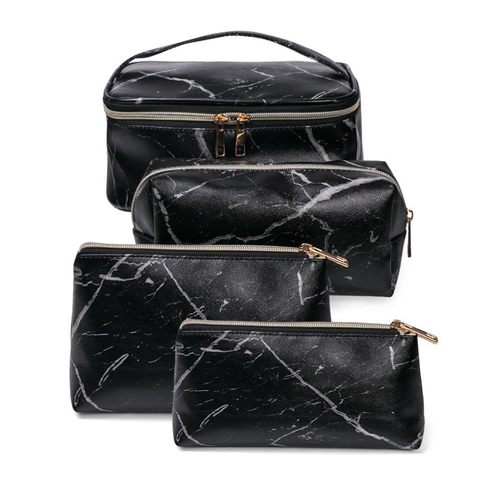 3PCS Set Women Luxury Beauty Makeup Bag Zipper Closure Travel Professional Cosmetic Bag Printed stripes Travel Small Cosmetic Bag