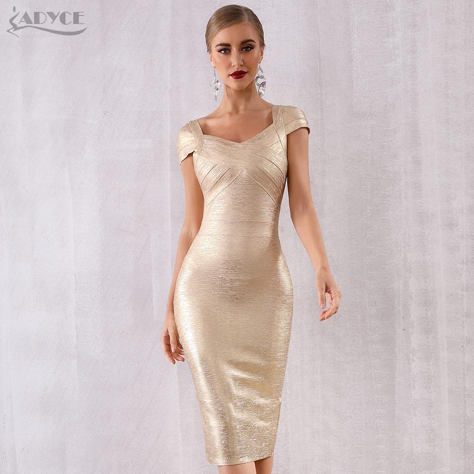 Adyce 2021 Yeni Yaz Altın Bandaj Elbise Kadınlar Vestido Seksi Kısa Kollu Bodycon Kulübü Elbise Midi Ünlü Akşam Parti Elbiseler Y0118