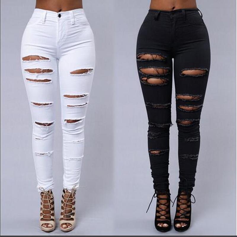 Jeans femme jeans jeans noirs taille finis femmes denim jambières maigres pantalons blancs taille haute coiffe pantalon crayon