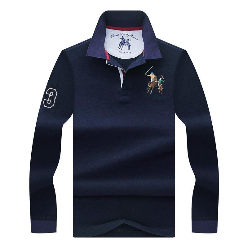 De alta calidad de color sólido bordado 3D Polo Polo casual camisa de manga larga del polo A1106 nueva llegada polosshirt camisas de los hombres