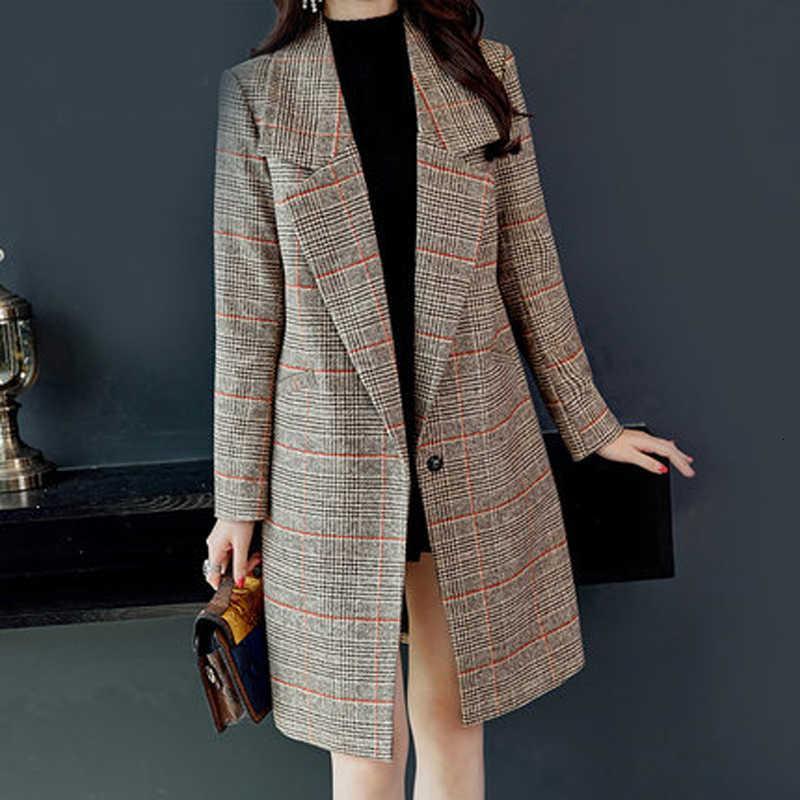 Giacca da donna Autunno e inverno nuova versione coreana della retrò grande taglia lunga cappotto tartan lungo TTYC190510
