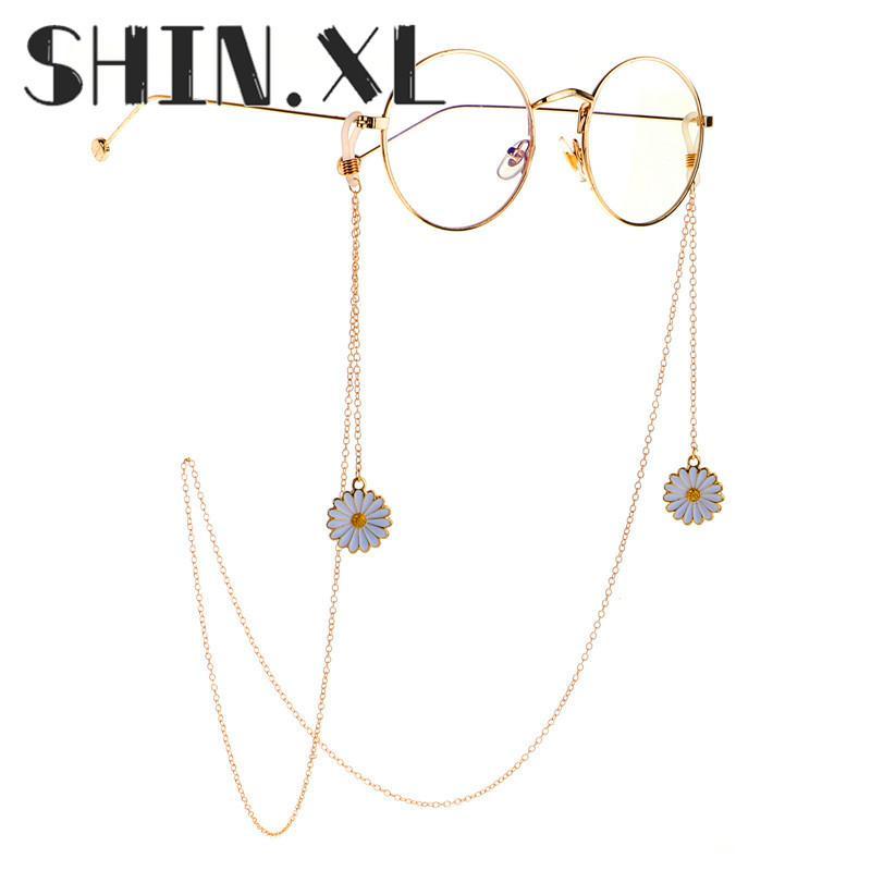 Venta caliente Cadenas de gafas de metal de oro con colgante de fresa de fresa flor de lectura de lectura de gafas porta cordero correa de cuello cuerda