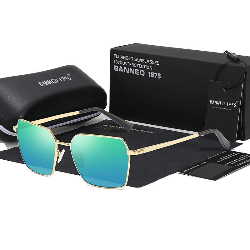 2019 Cadeau original Boîte à cadeau Souchage Square Sunglasses Hommes Femmes Fashion Marque Designer Rétro Cadre Vintage Sun Lunettes de haute qualité UV400