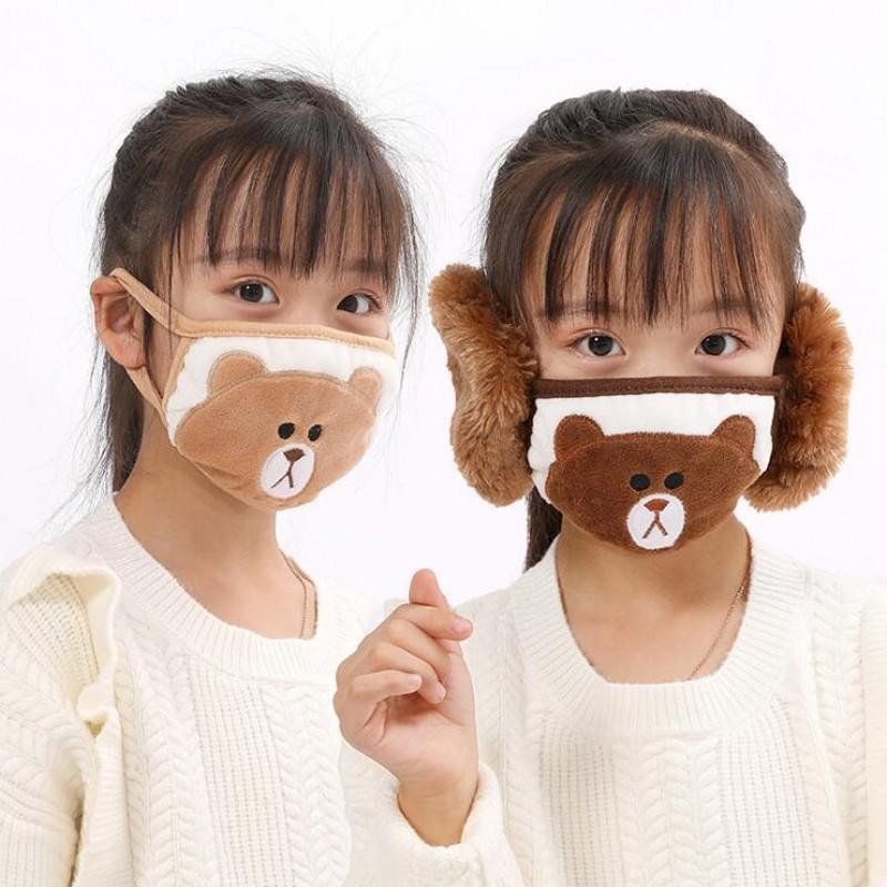 2 in 1 viso maschera auricolare del fumetto del fumetto del fumetto della bocca della bocca della bocca della peluche della peluche dell orecchio protettivo caldo caldo dei bambini delle maschere della bocca dell'inverno della bocca-muoversi auricolare auricolari cnvjm