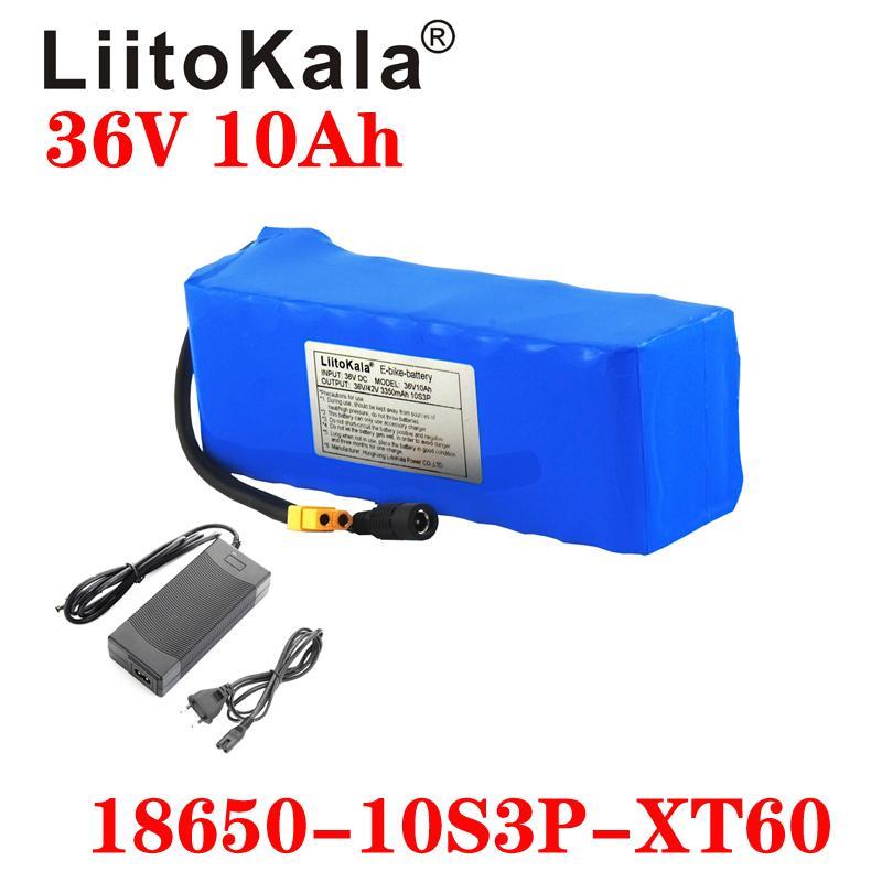LiitoKala 36V Lityum pil 36V 10Ah Elektrikli Bisiklet akü 30A BMS 42V 2A şarj cihazı ile 36 V 20ah 1000W Scooter Pil