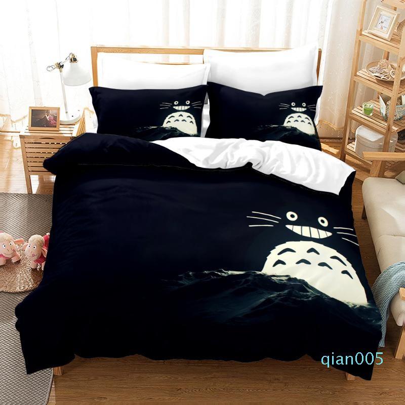 3D Neighbor Totoro Japan Bedding Set Duvet Cover Luxury for Kids Comforter Bedding Set 150 Bed Kids Twin King Size Bed