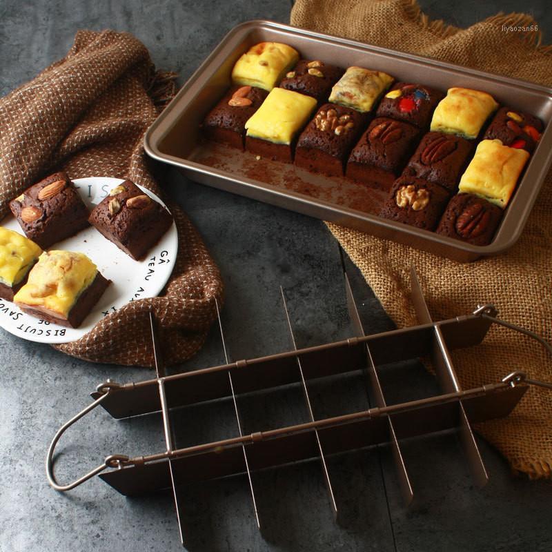 Brownie bolo pan diy bandeja de cozimento ferramentas quadrado lattice bolo de chocolate molde brownie não-vara panela1