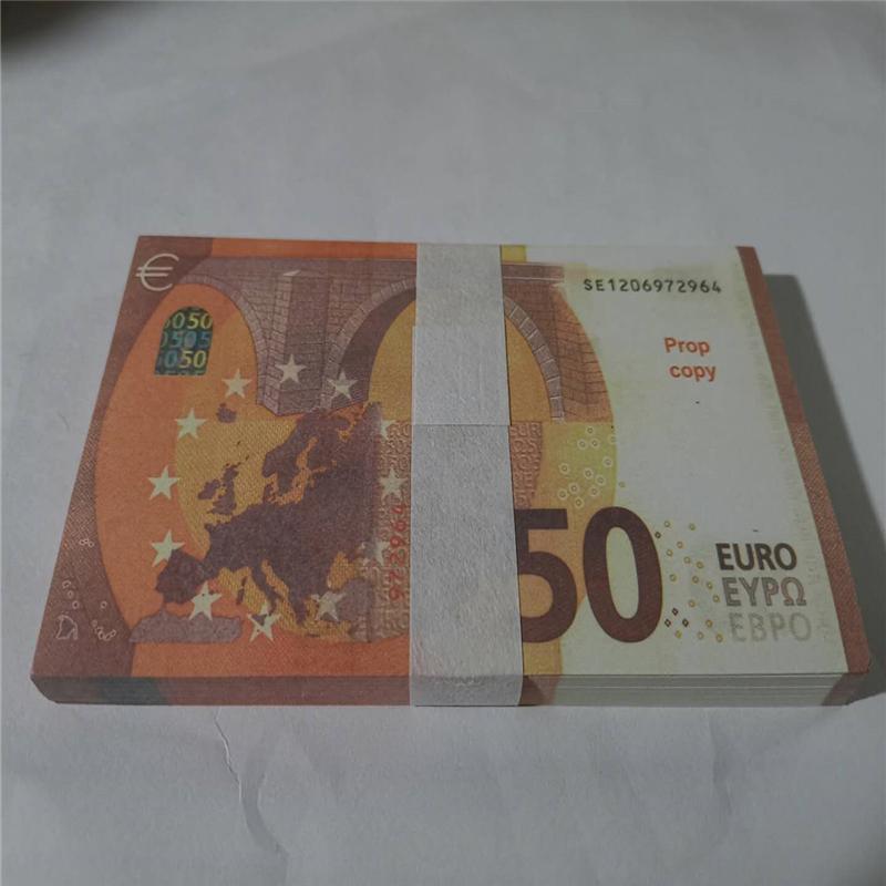 Simulation en gros Simulation Euro Dollar jeu Jeton Banque Banknote Formation Banque 50 Euro Toy Film et téléviseur